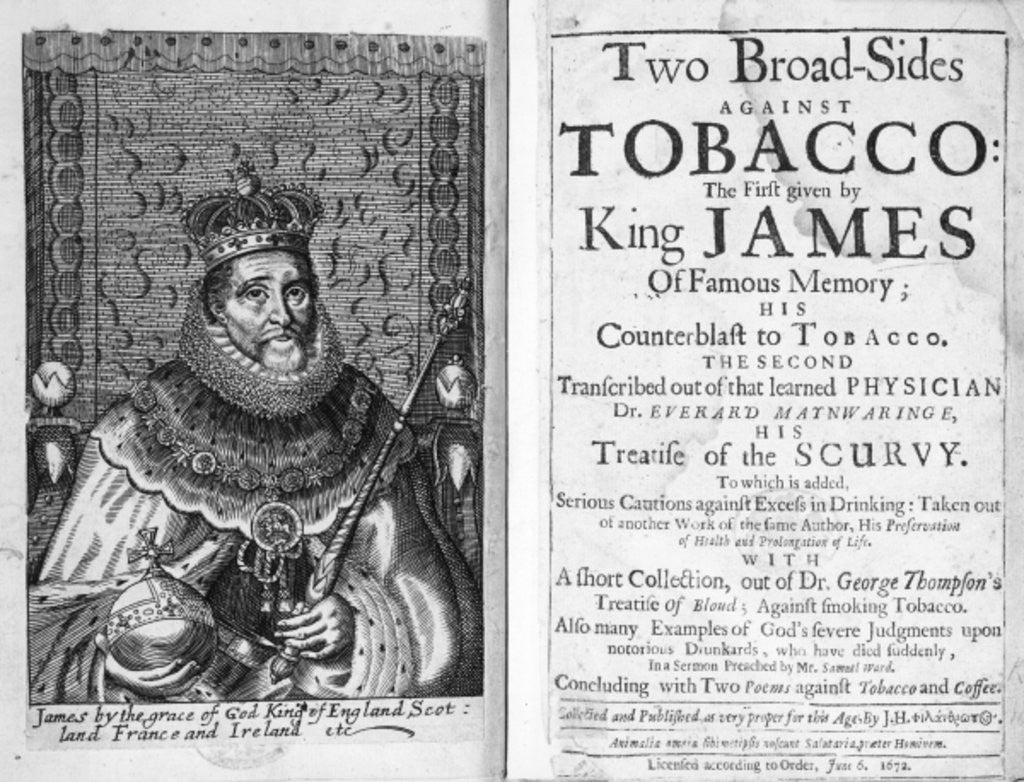 Detail of Frontispiece to 'Two Broadsides Against Tobacco' by English School