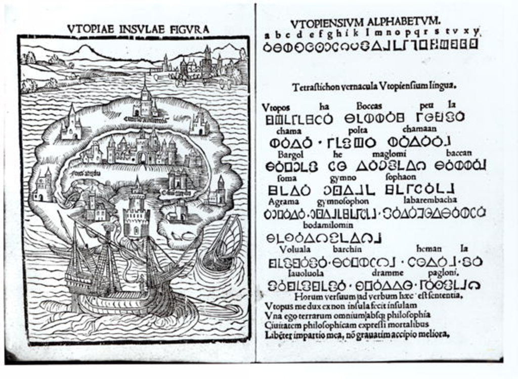 Detail of Map of the Island of Utopia and its Alphabet by English School