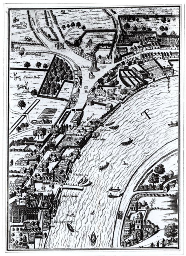 Detail of Bird's eye view of the River Thames and the surrounding area by English School