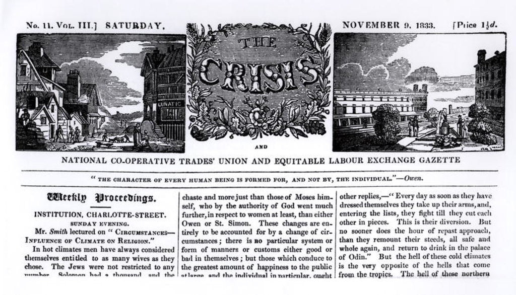 Detail of Front page of the 'National Co-operative Trades' Union and Equitable Labour Exchange Gazette' by English School
