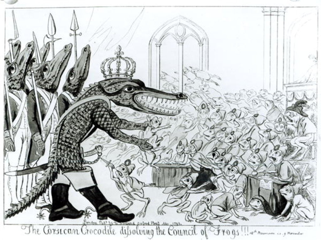 Detail of The Corsican Crocodile dissolving the Council of Frogs by English School