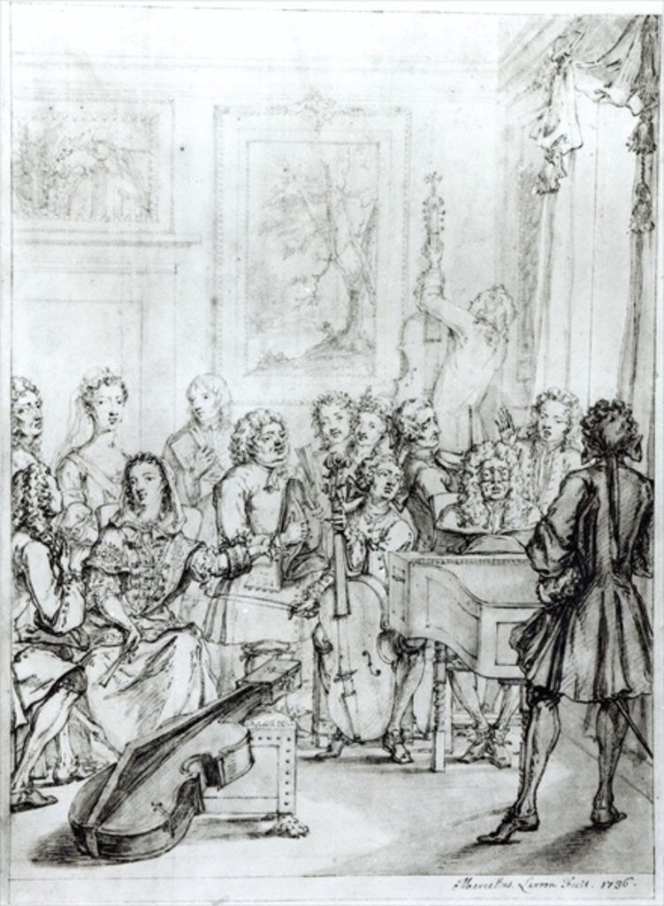 Detail of Concert at Montague House by Marcellus the Younger Laroon