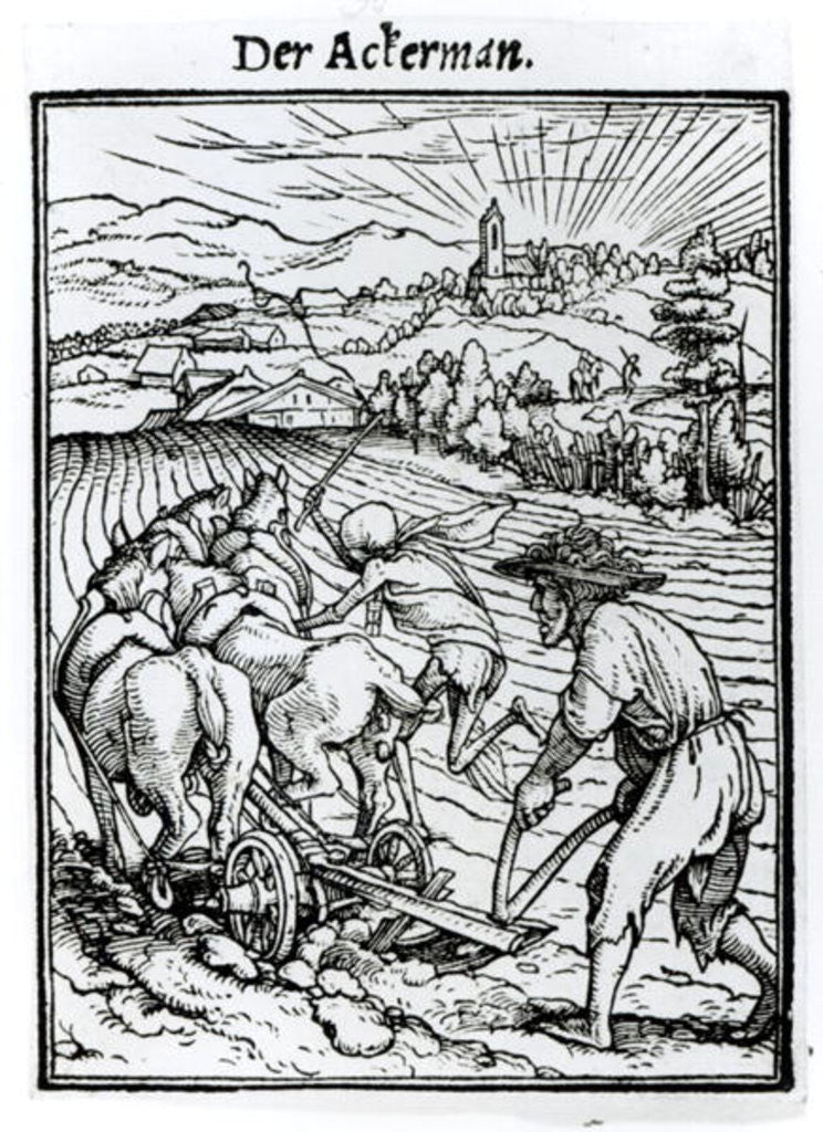 Detail of Death and the Ploughman by engraved by Hans Lutzelburger