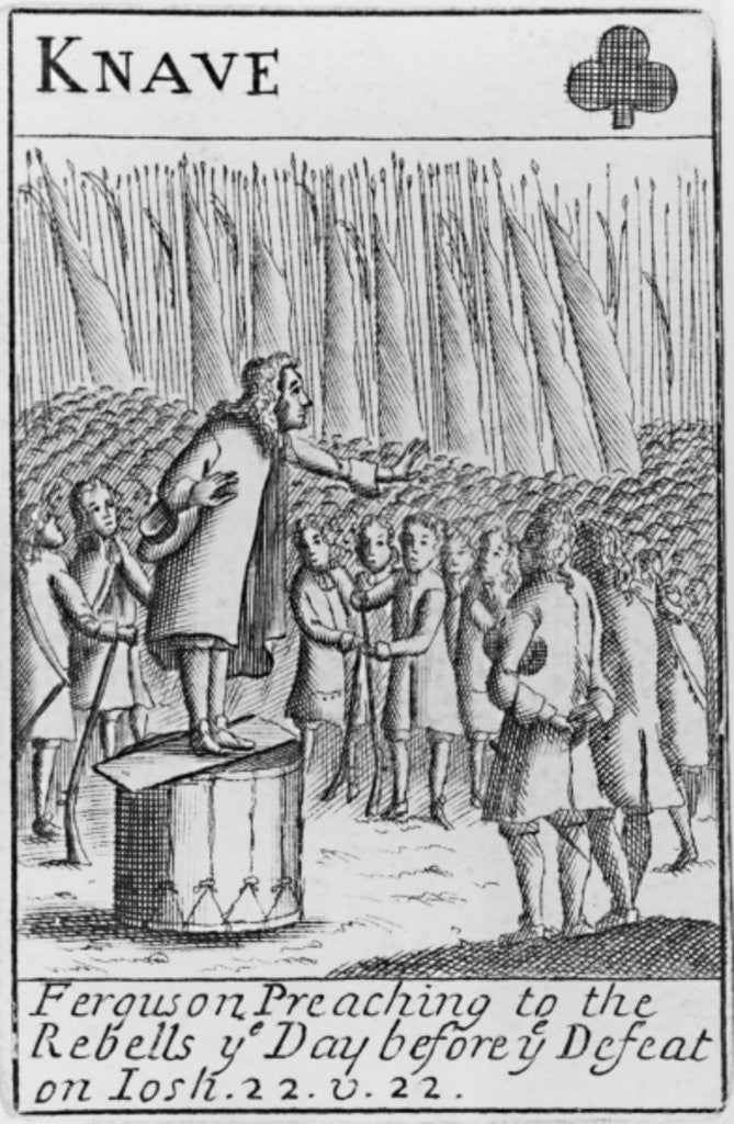 Detail of Ferguson preaching to the rebels the day before the defeat of the Monmouth Rebellion by English School