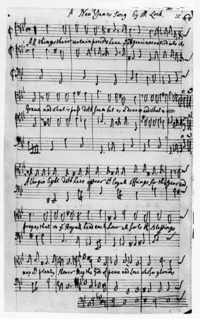 Detail of Music score for a New Year's Song, composed by Matthew Locke by Matthew Locke