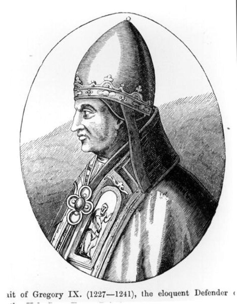 Detail of Portrait of Pope Gregory IX illustration from 'Science and Literature in the Middle Ages and the Renaissance', written and engraved by Paul Lacroix by English School