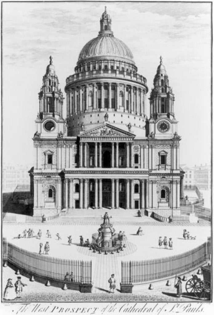 Detail of The West Prospect of St. Paul's Cathedral by English School