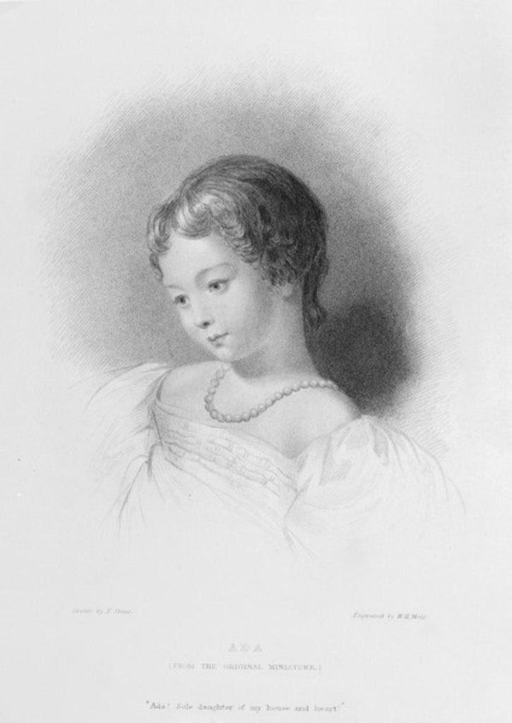 Detail of Portrait of Augusta Ada Byron by Frank Stone