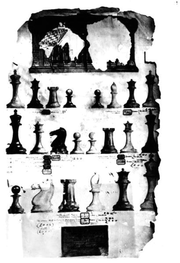 Detail of The Staunton Chessmen Patent Drawing by English School