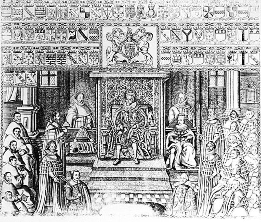 Detail of James I of England at Court by English School