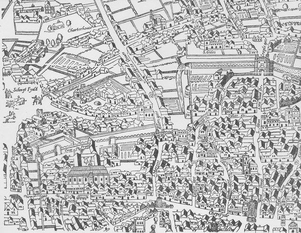 Detail of Detail of London Wall East of Smithfield from Civitas Londinium by Ralph Agas