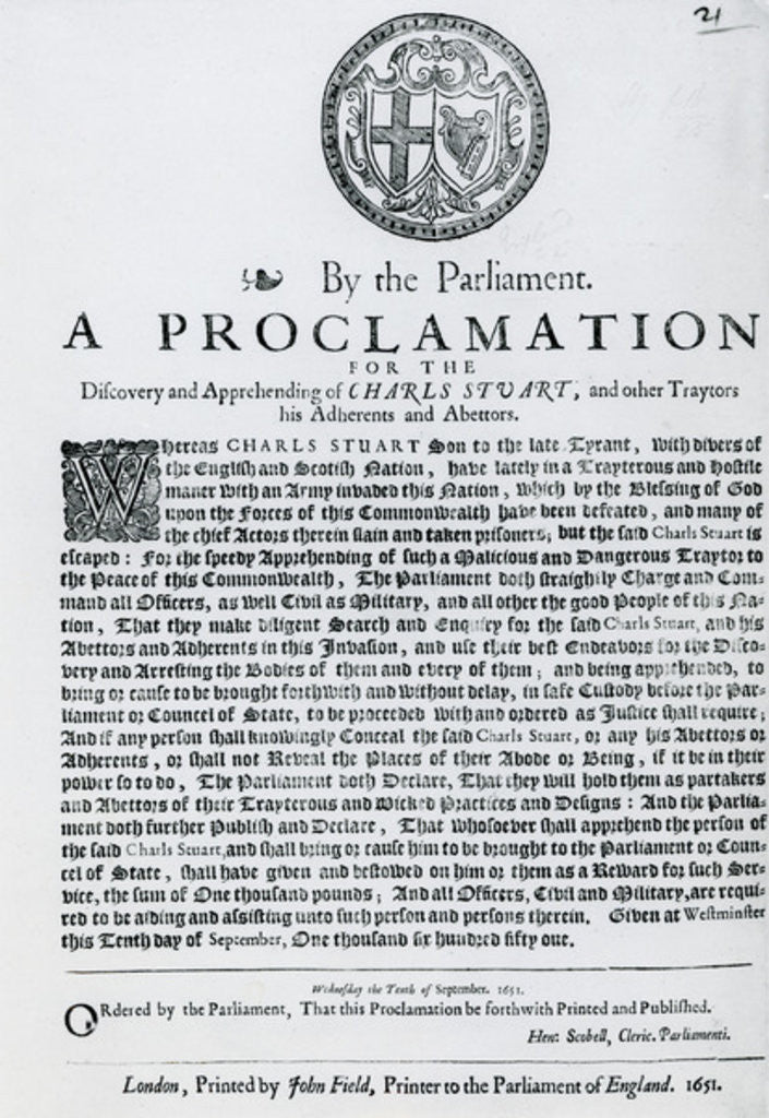 Detail of A Proclamation by the Parliament for the Discovery and Apprehending of Charles Stuart and other Traitors, Abdherents and Abettors by English School