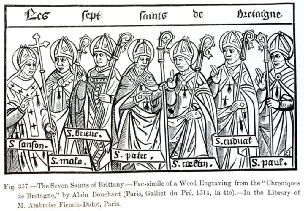 Detail of The Seven Saints of Brittany by illustration from 'Science and Literature in the Middle Ages and Renaissance'