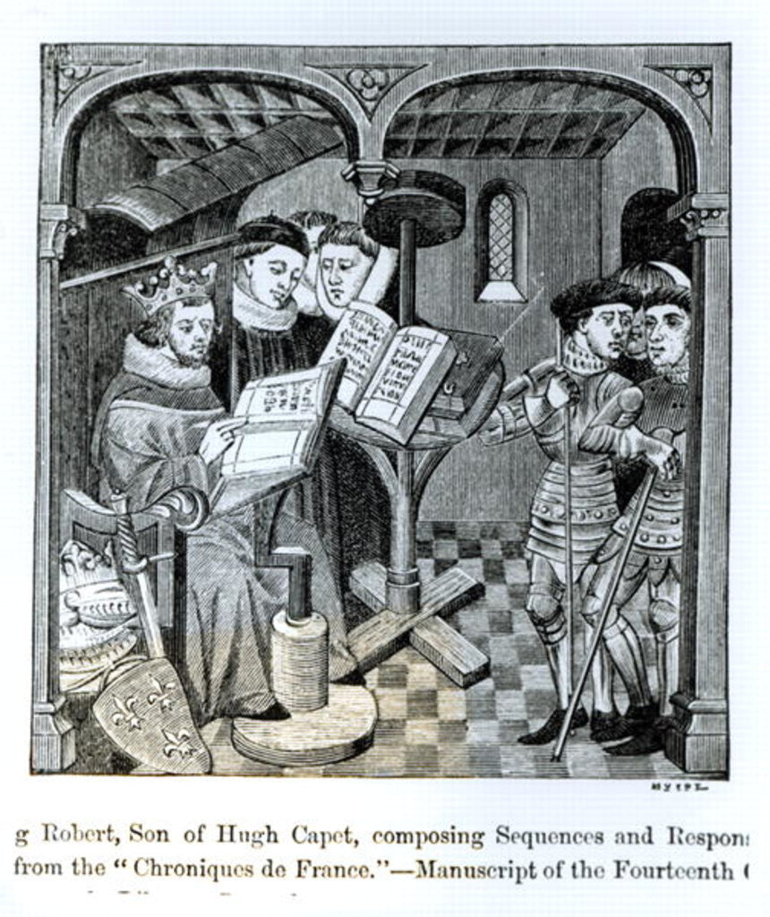 Detail of King Robert II son of Hugh Capet composing Sequences and Responses by illustration from 'Science and Literature in the Middle Ages and Renaissance'