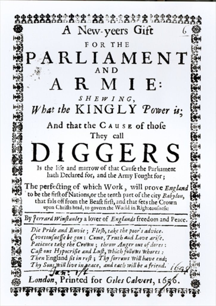 Detail of A New Year's Gift for the Parliament and Army, Showing what the Kingly Power is and the Cause of those they call Diggers by English School