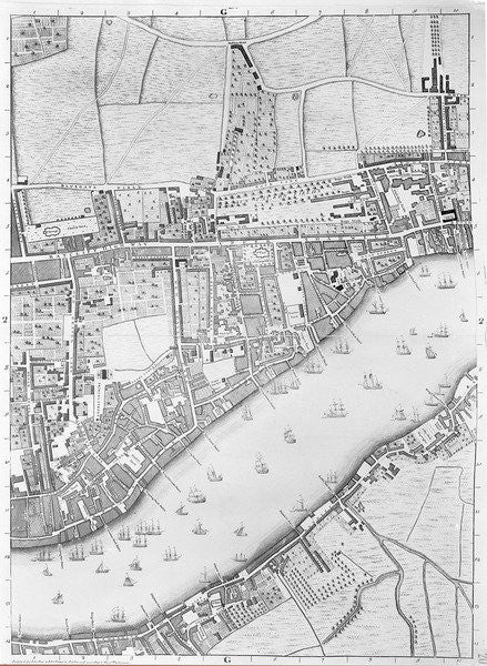 Detail of A Map of Wapping, London by John Rocque