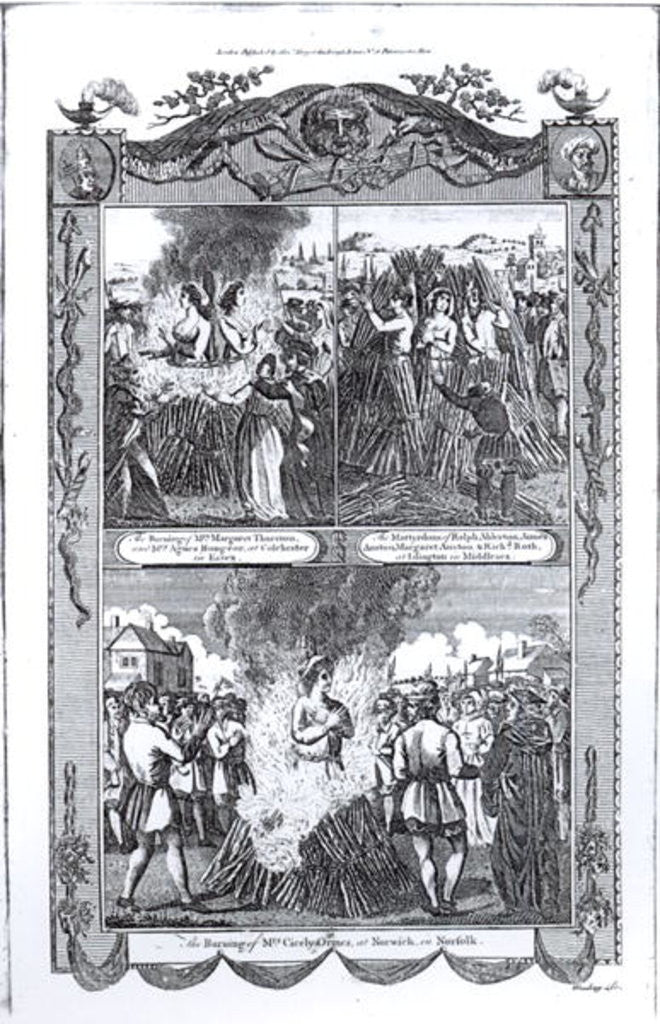 Detail of Men and women burned at the stake in 1557 by English School