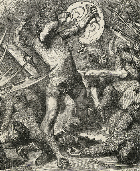 Detail of Hereward cutting his way through the Norman host by James Cooper