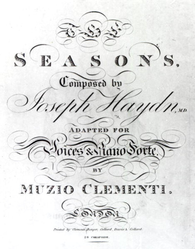 Detail of Cover of the score sheet of 'Seasons' by Joseph Haydn by English School