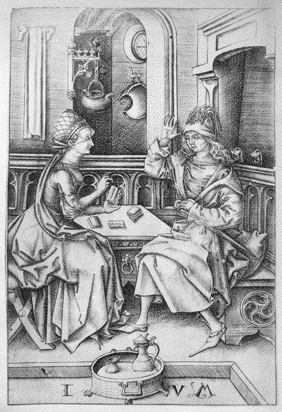 Detail of Couple playing cards by Israhel van
