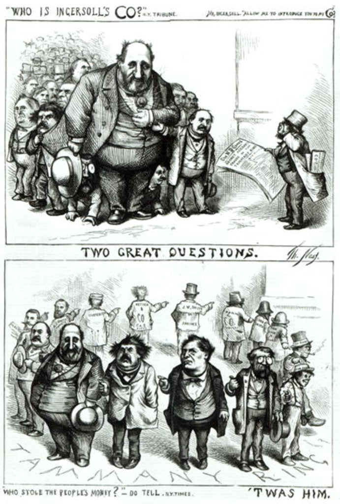 Detail of Cartoons featuring William Marcy 'Boss' Tweed, James Ingersoll and George Miller by Thomas Nast