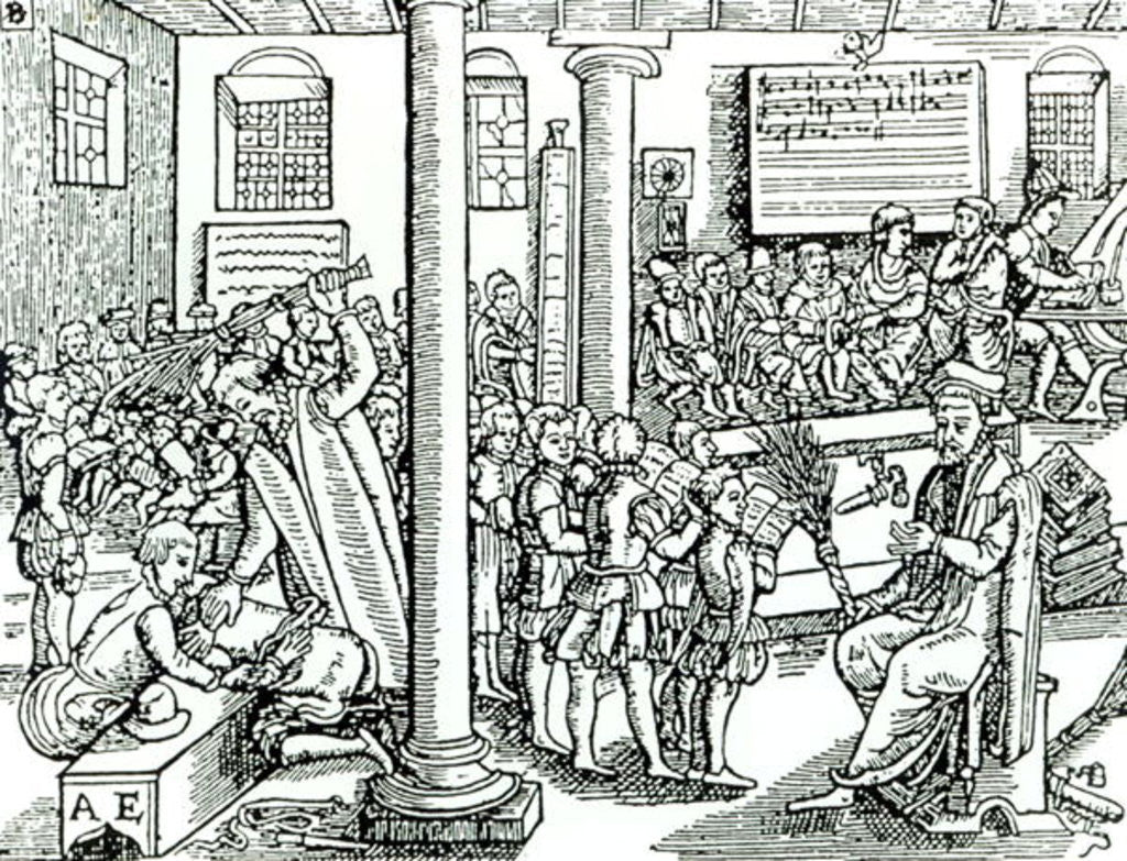 Detail of Schoolroom scene in Tudor times by English School