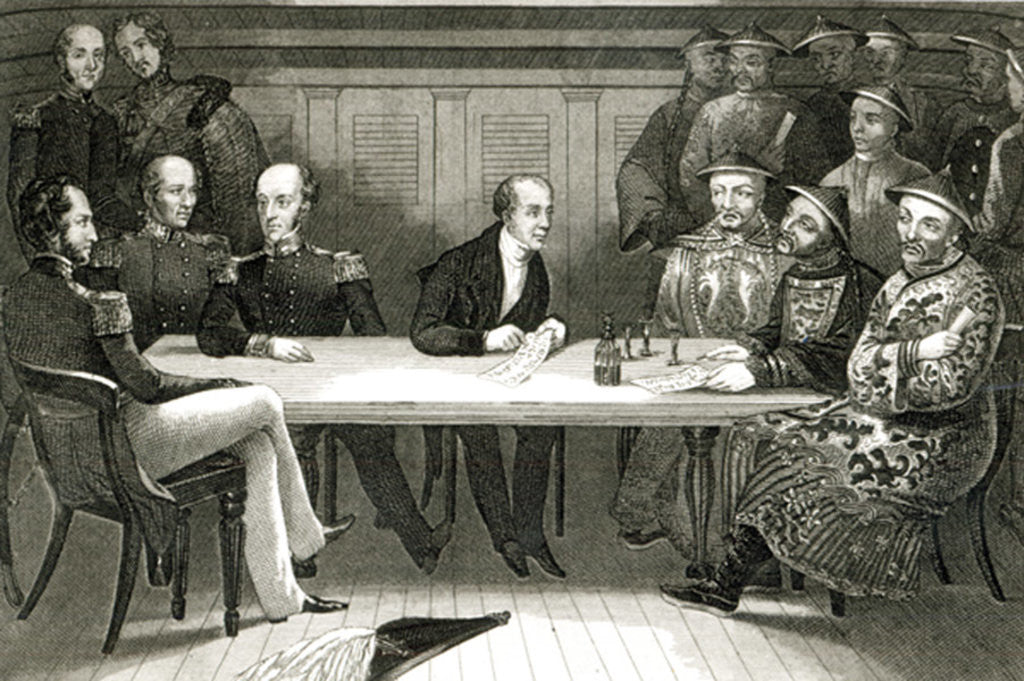 Detail of A conference at Chusan between Commodore Bremer and Chang, a Chinese official, on board the HMS Wellesley by German School