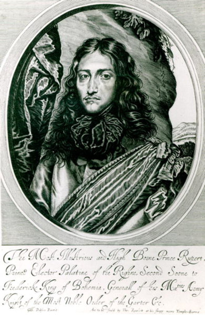 Detail of Prince Rupert of the Rhine engraved by William Faithorne by William Dobson