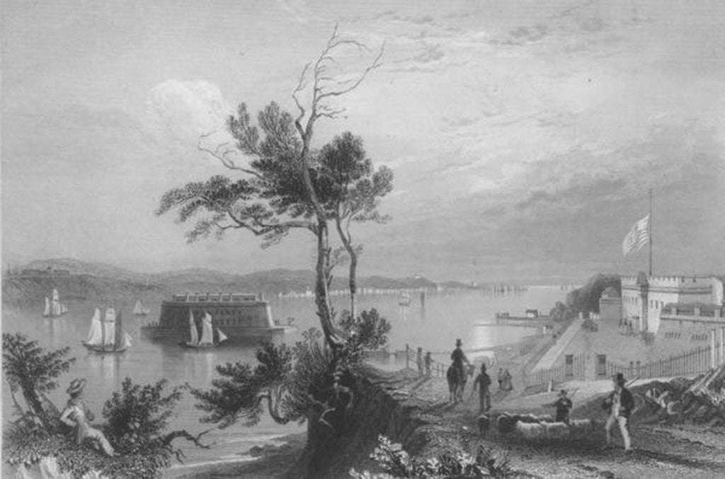 Detail of The Narrows from Fort Hamilton by William Henry Bartlett