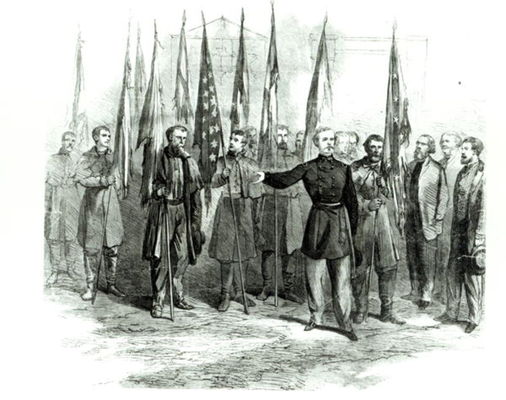 Detail of General Custer presenting captured Confederate flags in Washington on October 23rd 1864 by Alfred R. Waud