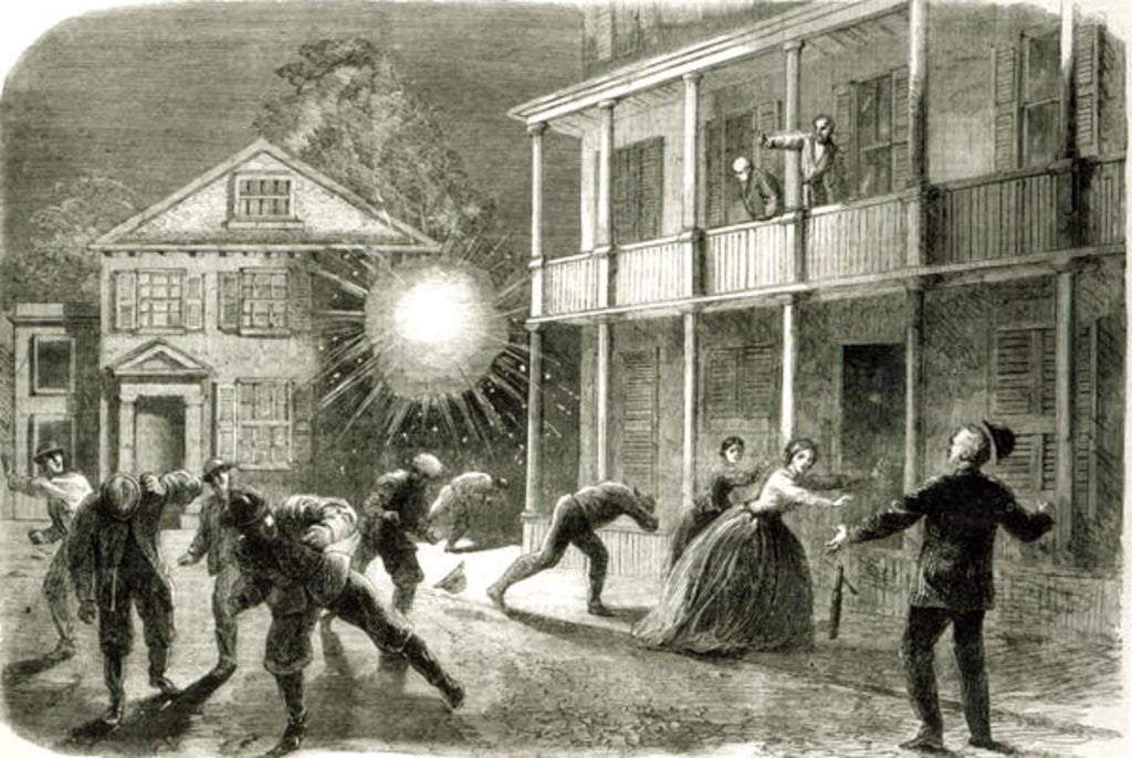 Detail of The Federals shelling the City of Charleston: Shell bursting in the streets in 1863 by Frank Vizetelly