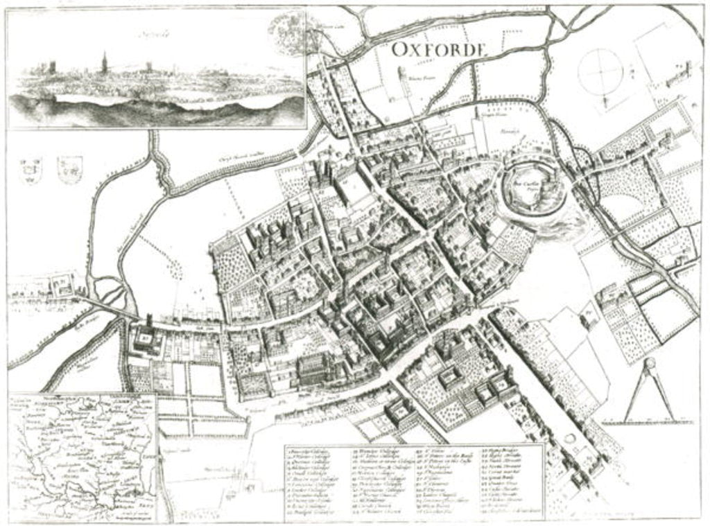 Detail of Map of Oxford by Wenceslaus Hollar