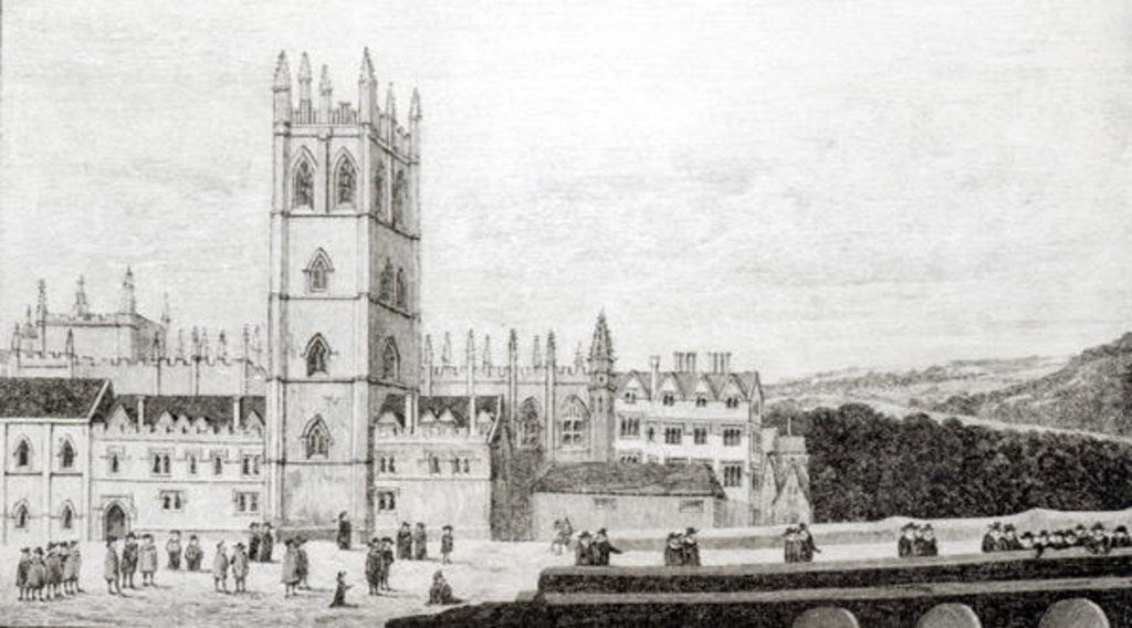 Detail of Magdalen College, Oxford in the 17th century by English School