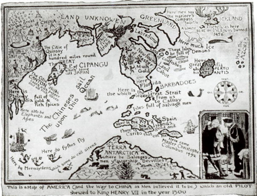 Detail of Map of America and directions to China by English School