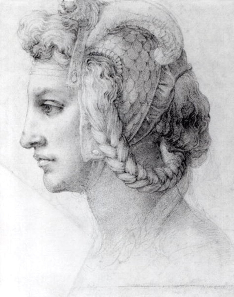 Detail of Ideal Head of a Woman by Michelangelo Buonarroti