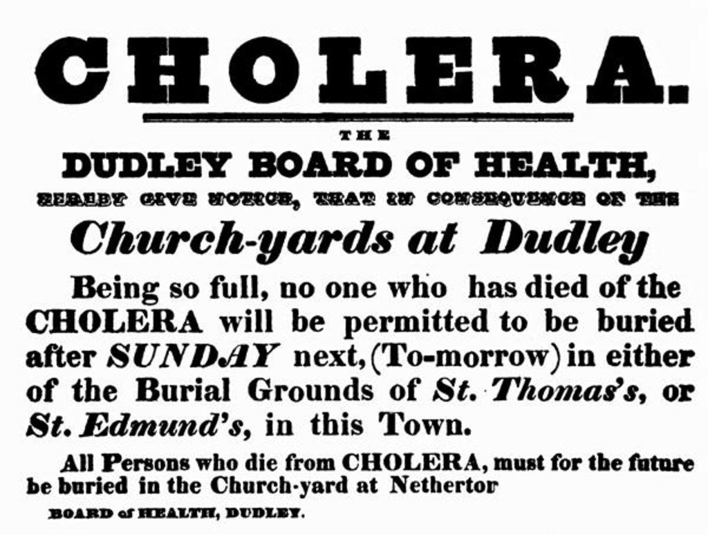 Detail of Dudley Board of Health poster announcing the burial procedure for people who have died of Cholera, c.1840's by English School