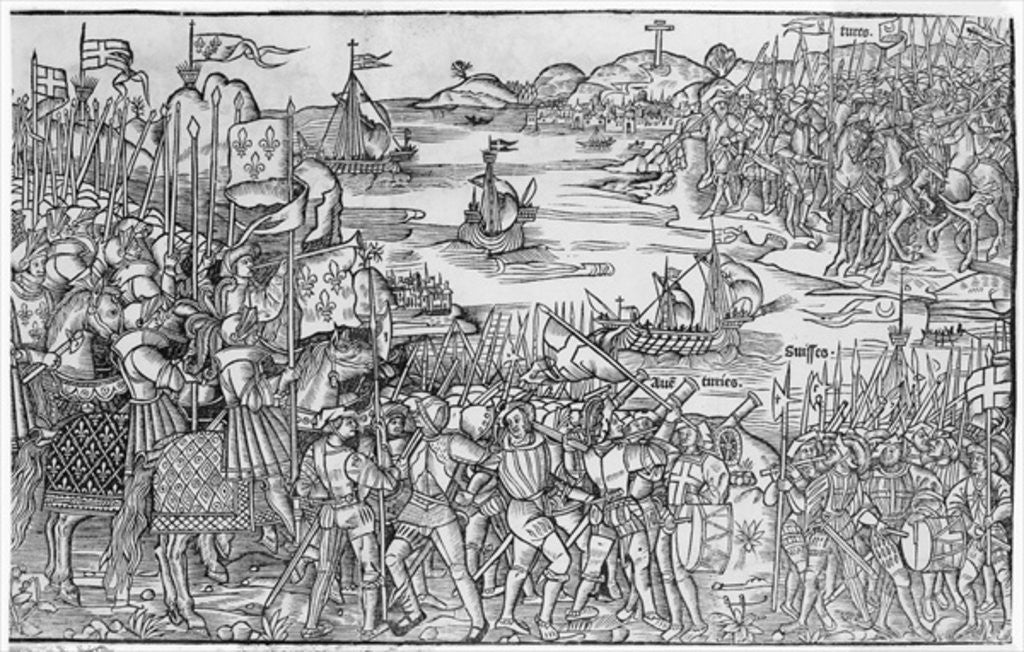 Detail of Louis IX of France disembarking at Damietta during the Seventh Crusade by French School
