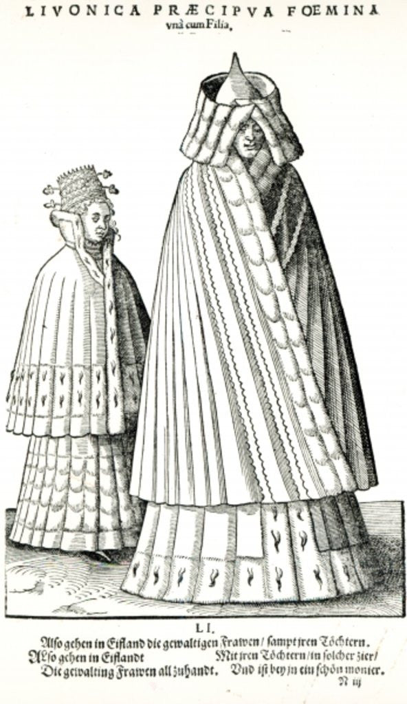Detail of Costumes of a Livonian noblewoman and her daughter by Hans Weigel