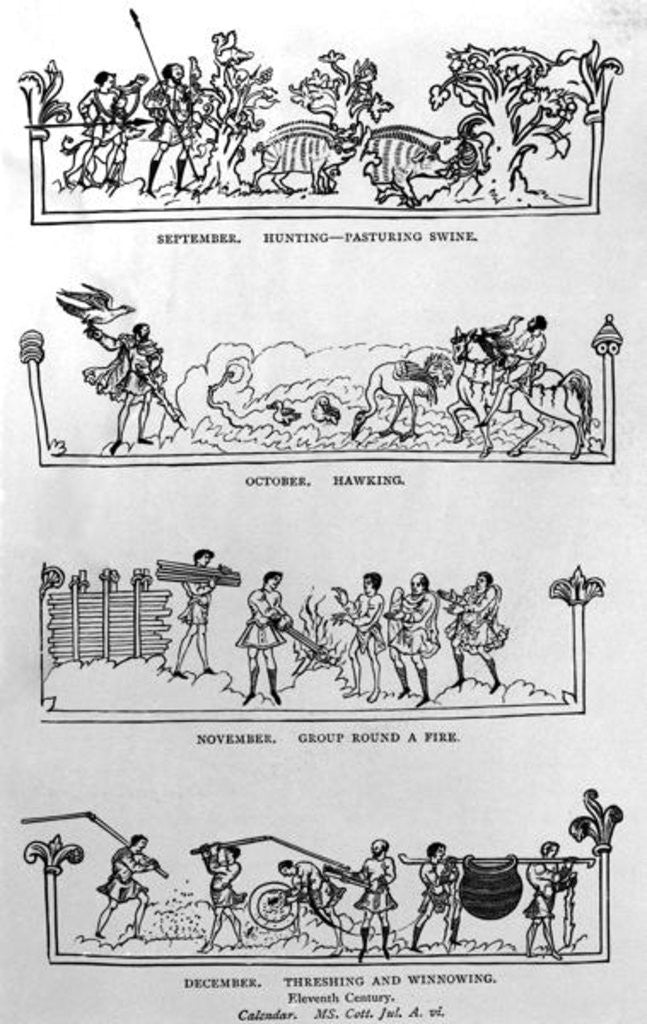 Detail of September, October, November and December by illustration from 'History of the English People'