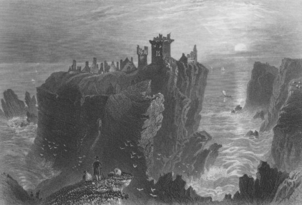 Detail of View of Dunottar Castle, near Stonehaven by William Henry Bartlett