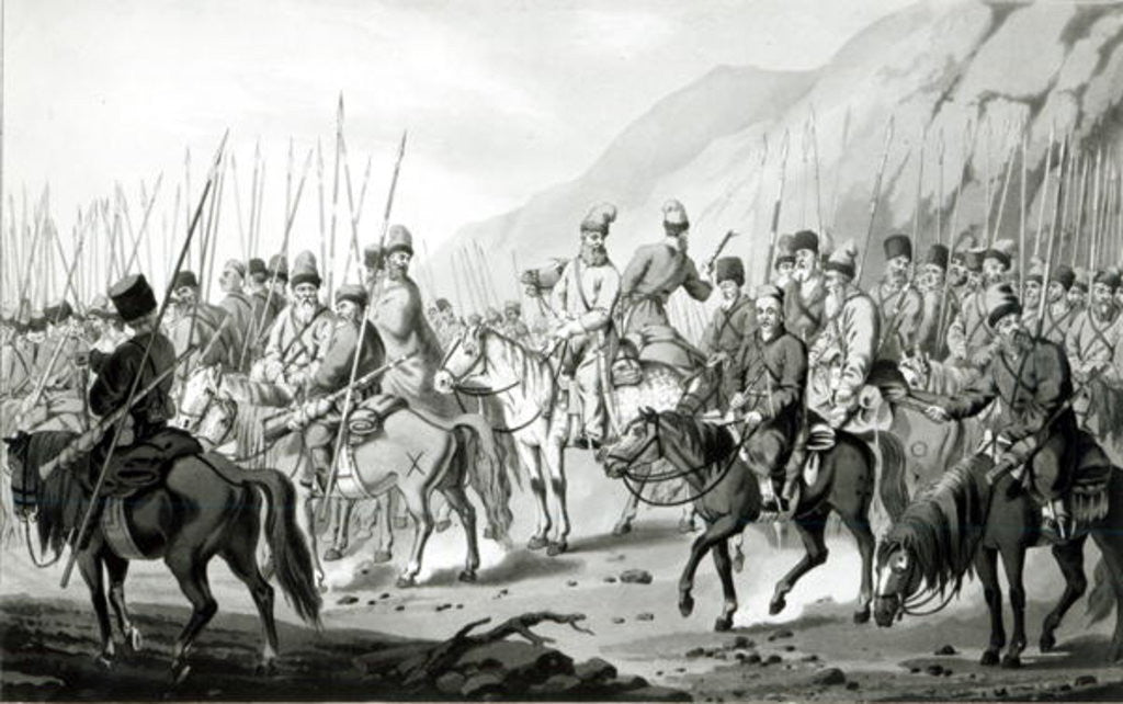 Detail of Different Tribes of Russian Cossacks in Marching Order by Peter von Hess