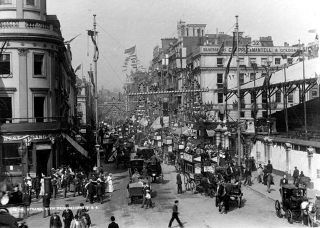 Detail of The Strand, London with Jubilee Decorations by English Photographer