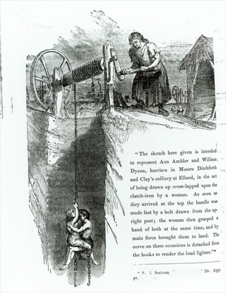 Detail of A boy and girl being wound up a mine shaft by English School