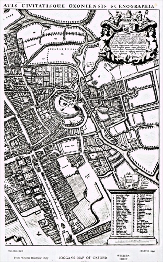 Detail of Loggan's map of Oxford, Western Sheet by David Loggan