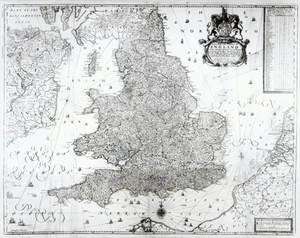 Detail of A New Map of the Kingdom of England and the Principalitie of Wales by William Berry