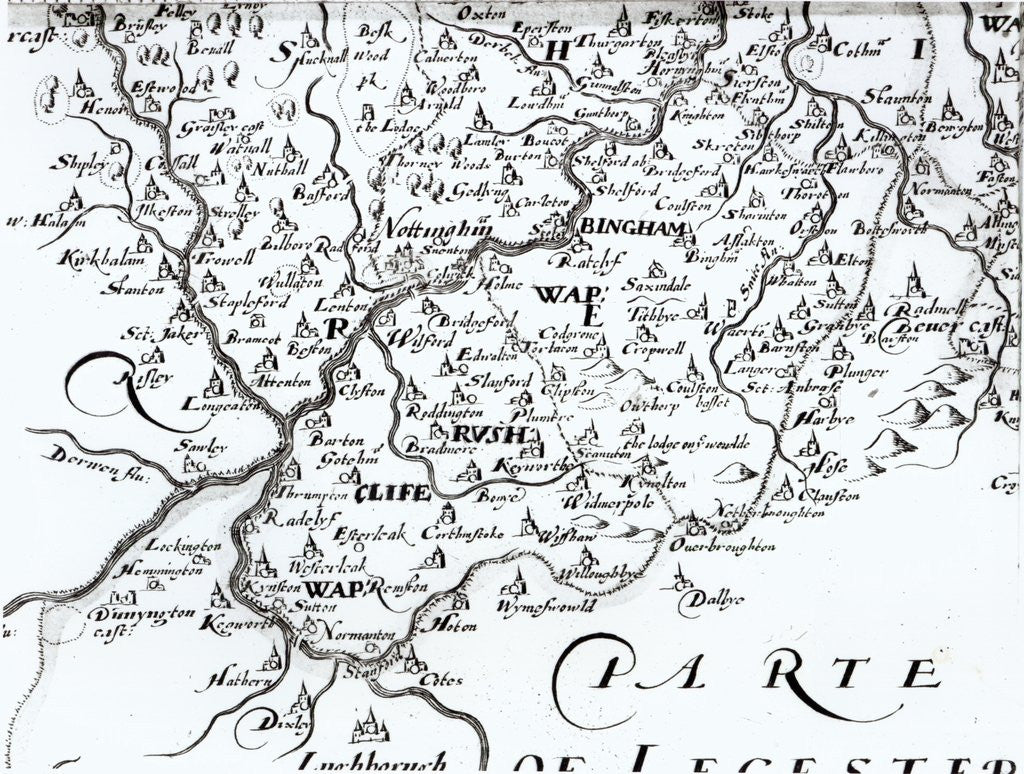 Detail of a map of the county of Nottinghamshire showing the town of Nottingham by English School