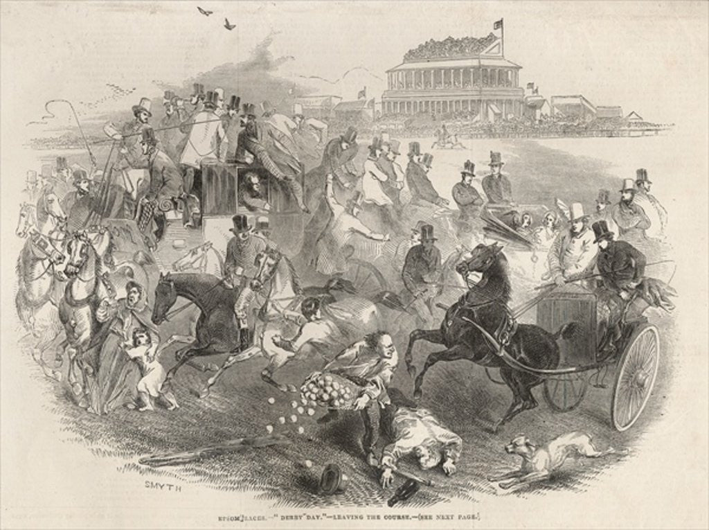 Detail of Epsom Races, 'Derby Day': Leaving the Course by English School