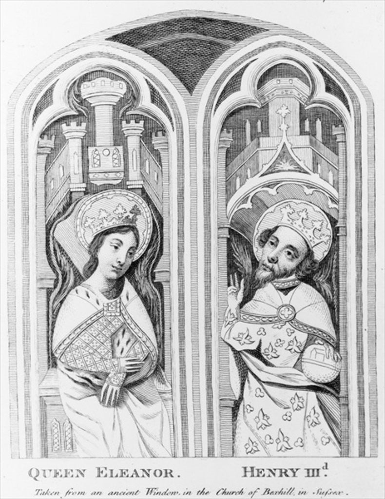 Detail of Queen Eleanor and Henry III, taken from an ancient window in the Church of Boxhill, Sussex by English School