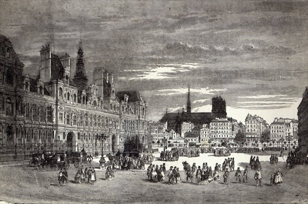 Detail of Hotel de Ville, Paris by English School