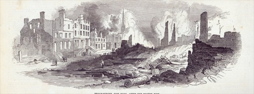 Detail of Broad-street, New York, after the recent fire by English School